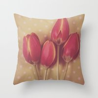 antique Throw Pillows featuring Antique Tulips by Jessica Torres Photography