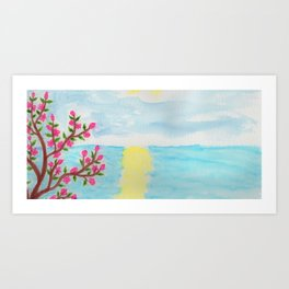 Cherry Tree Ocean View Art Print