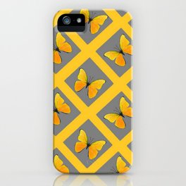 GOLDEN BUTTERFLIES GREY LATTICE  DESIGN iPhone Case