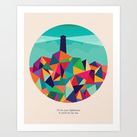 sayings Art Prints featuring I'll be your lighthouse if you'll be my sea by Picomodi