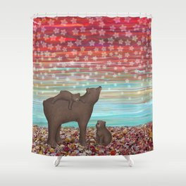 brown bears and stars Shower Curtain