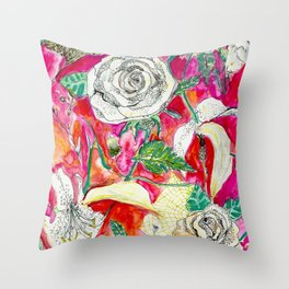 Memories, Petals and Blooms Throw Pillow