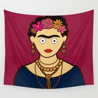 frida kahlo Wall Tapestries featuring Frida Kahlo by evannave