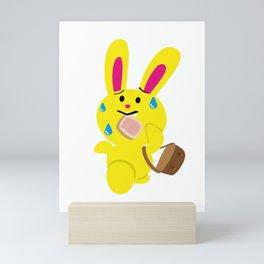 One Tooth Rabbit Late at School Toast Mini Art Print