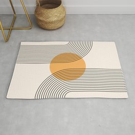 Geometric Lines in Black and Beige 27 (Rainbow and Sun Abstraction) Rug