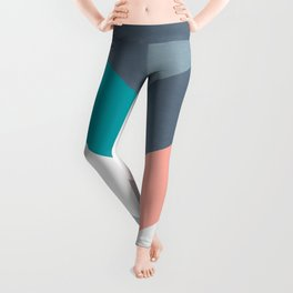 Vertical Chevron Pattern - Teal, Coral and Dusty Blues #geometry #minimalart #society6 Leggings