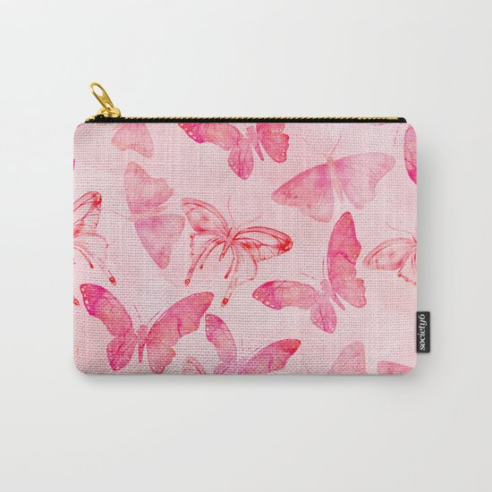 Pink pastel Butterflies allover pattern Carry-All Pouch
