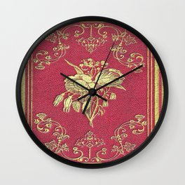 Wine and Roses Book Cover Wall Clock