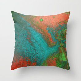 Rusty Jade: Acrylic Pour Painting Throw Pillow