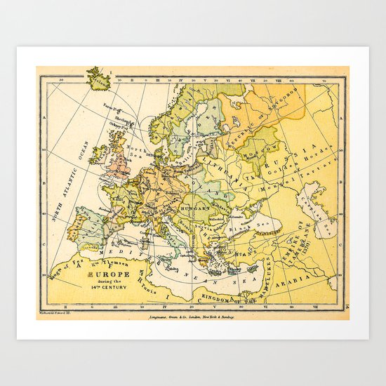 Europe During The 14th Century - Vintage Map Art Print