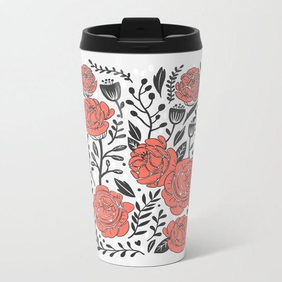 Orange Garden Metal Travel Mug