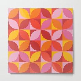 Retro geometric pattern in vivid red Metal Print