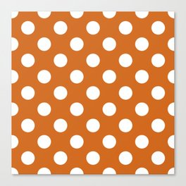 Cocoa brown - brown - White Polka Dots - Pois Pattern Canvas Print