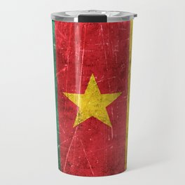 Vintage Aged and Scratched Cameroon Flag Travel Mug