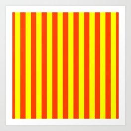 Super Bright Neon Orange and Yellow Vertical Beach Hut Stripes Art Print