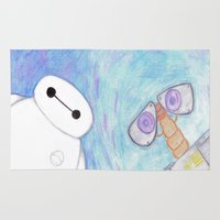 wall e Area & Throw Rugs featuring baymax and wall-e by Art_By_Sarah