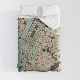 New York City Map of the United States - Vintage Duvet Cover
