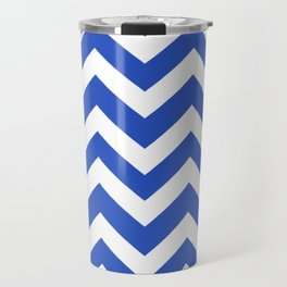 Cerulean blue - blue color - Zigzag Chevron Pattern Travel Mug