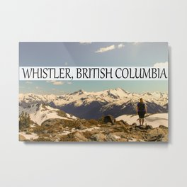 women overlooking cliff at whistler british columbia Metal Print