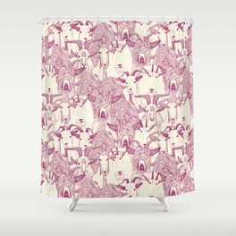 just goats cherry pearl Shower Curtain