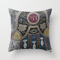 jewish Throw Pillows featuring Jewish Hamsa by Debra Slonim Art & Design