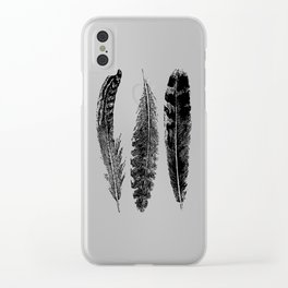 Feather Trio | Black and White Clear iPhone Case