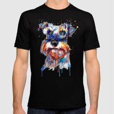 Schnauzer Head Watercolor Portrait Mens Fitted Tee MEDIUM Black