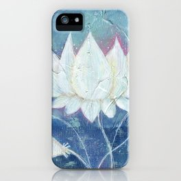 Abstract Lotus Art Acrylic Painting Reproduction by Kimberly Schulz iPhone Case