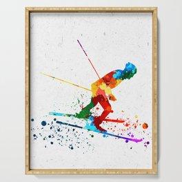 Watercolor Skiing Colorsplash Serving Tray