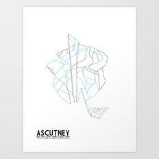 Ascutney, VT - Minimalist Winter Trail Art Art Print