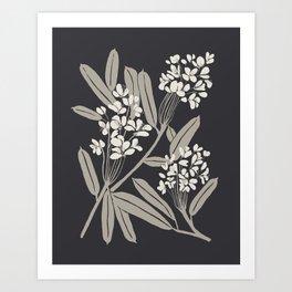 Boho Botanica Black Art Print