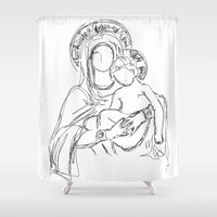 madonna Shower Curtains featuring Madonna And Child by Ian Cy