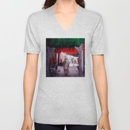 Marrakesh, Morocco: Wool Drying in Marketplace Unisex V-Neck