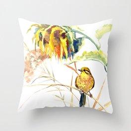 Yellow Bird and Sunflowers, Yellowhammer Throw Pillow