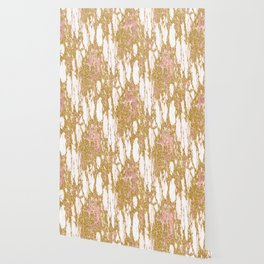 Gold Marble - Intense Glittery Yellow and Rose Gold Marble Wallpaper