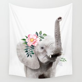 Baby Elephant With Flower Crown Wall Tapestry