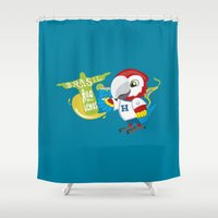 brasil Shower Curtains featuring Brasil haya nos vemos by An Illustrated Dream