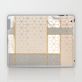 Golden Pastel Marble Geometric Design Laptop & iPad Skin