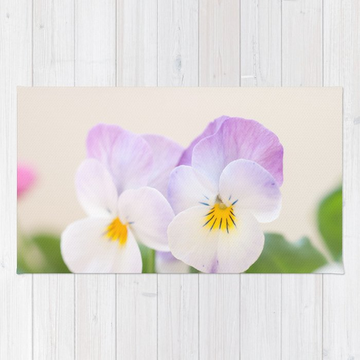 Spring Love 1 Soft Violet White Pansies Decor Art Society6 Rug