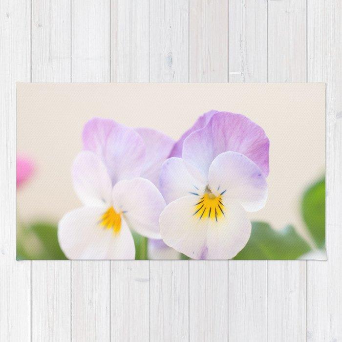 Spring Love 1 Soft Violet White Pansies Decor Art Society6 Rug