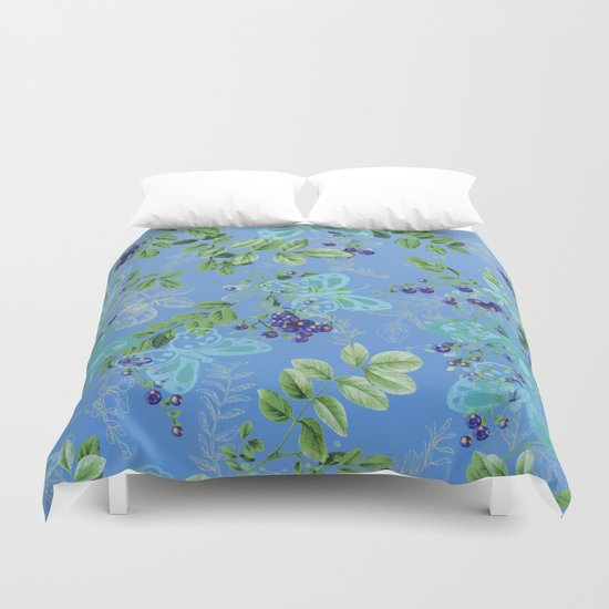 blueberries and butterflies Duvet Cover