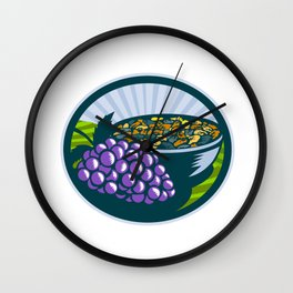 Grapes Raisins Bowl Oval Woodcut Wall Clock