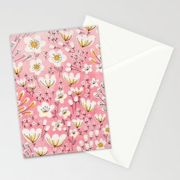 Pink Flowers in Floral Pattern Stationery Cards