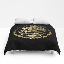 Mexican flag seal in sepia tones on black bg Comforters