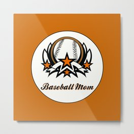 BASEBALL MOM Metal Print