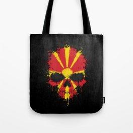 Flag of Macedonia on a Chaotic Splatter Skull Tote Bag