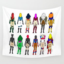 Superhero Butts - Girls Superheroine Butts LV Wall Tapestry