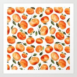 Watercolor tangerines Art Print