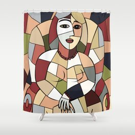 Woman with Kindle #5 Shower Curtain