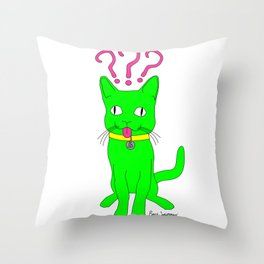 """Heckin Confused Derp Cat"", by Brock Springstead Throw Pillow"